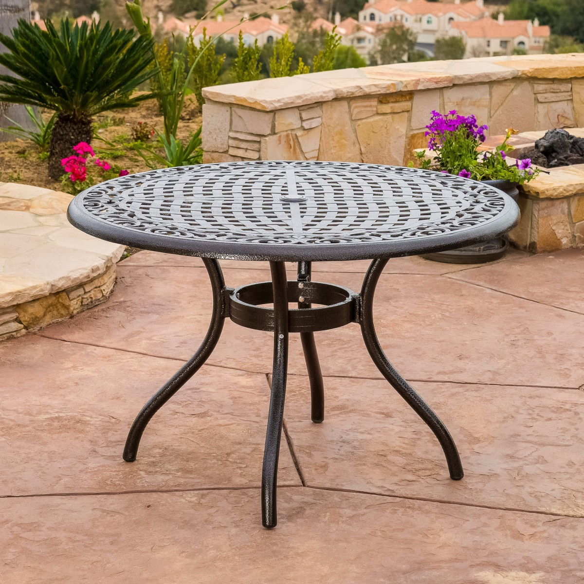 covington cast aluminum 5 piece outdoor dining set with round table patio table. Black Bedroom Furniture Sets. Home Design Ideas