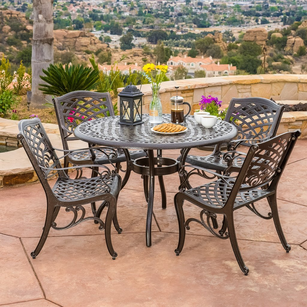 Covington Cast Aluminum 5 Piece Outdoor Dining Set With Round Table Patio Table