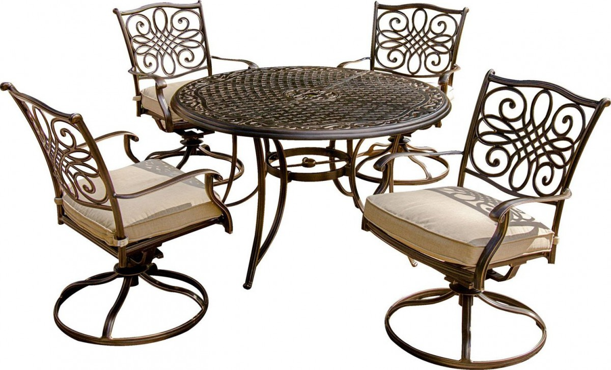 hanover traditions 5 piece outdoor dining set with swivel rocker chairs patio table. Black Bedroom Furniture Sets. Home Design Ideas