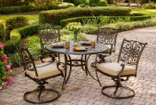 Hanover Traditions 5-Piece Outdoor Dining Set with Swivel-Rocker Chairs
