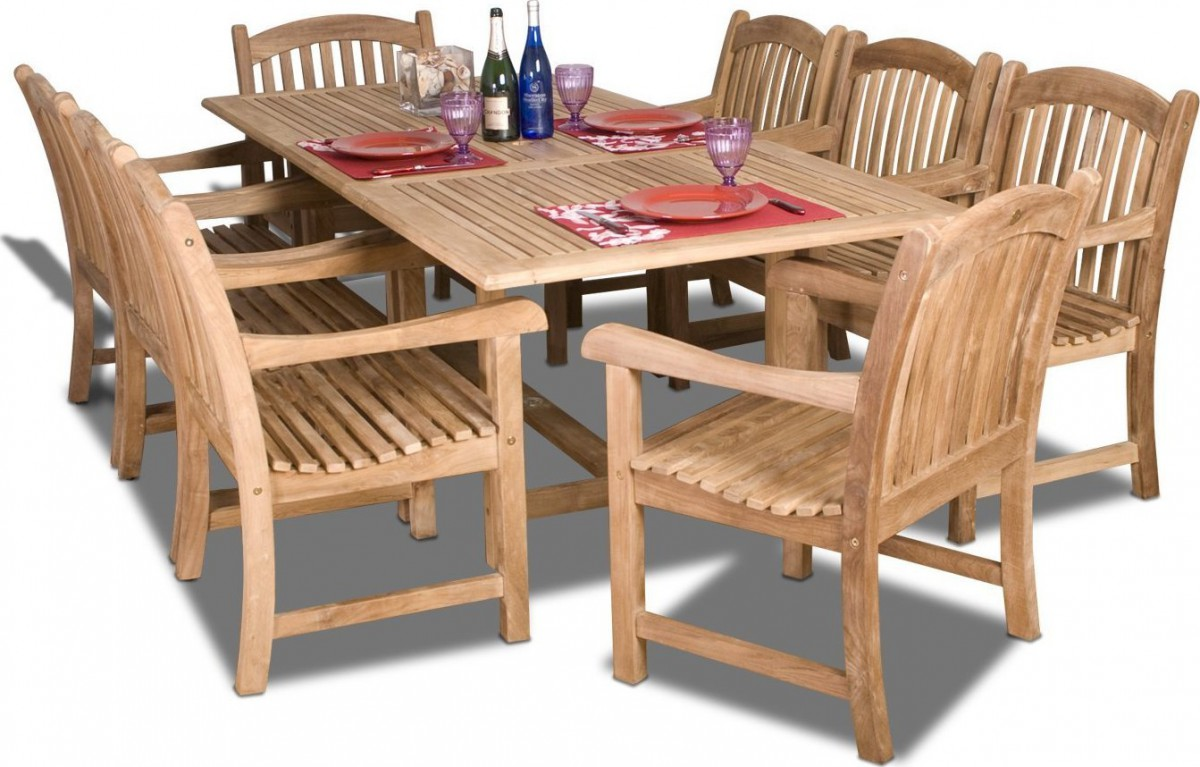 Amazonia teak newcastle 9pc teak outdoor patio dining set for Outdoor patio table set
