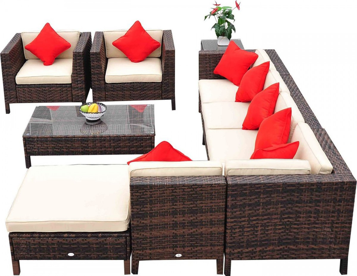Outsunny 9 Piece Wicker Outdoor Sectional Sofa Set