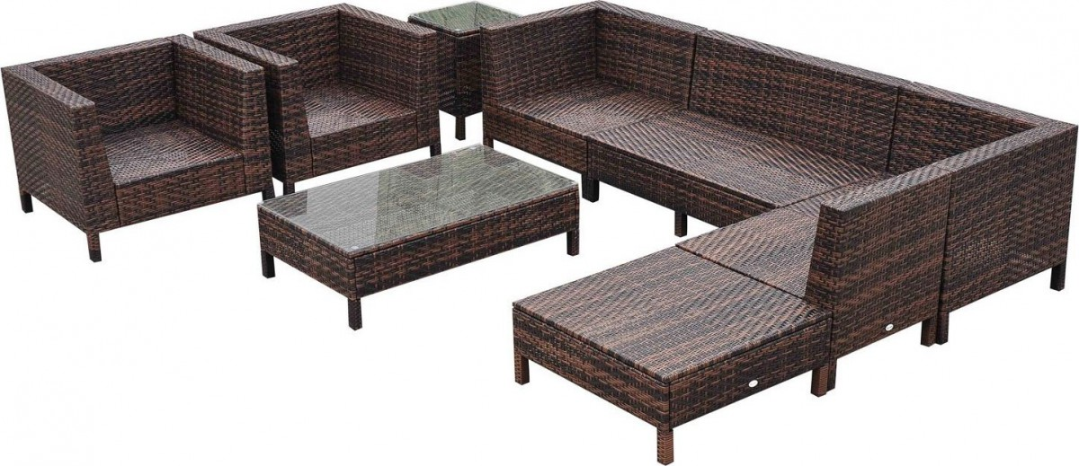 Outsunny 9 Piece Wicker Outdoor Sectional Sofa Set - Outsunny 9 Piece Wicker Outdoor Sectional Sofa Set - Patio Table