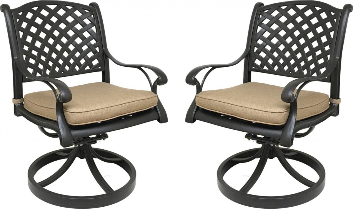 Nevada Cast Aluminum Outdoor Swivel Rocker Chairs with Sunbrella Cushions