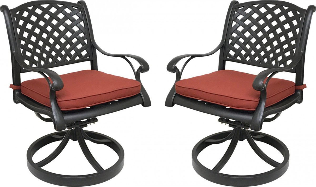 Nevada Cast Aluminum Outdoor Swivel Rocker Chairs With