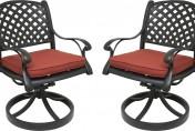 Nevada Cast Aluminum Outdoor Swivel Rocker Chairs with Sunbrella Cushions