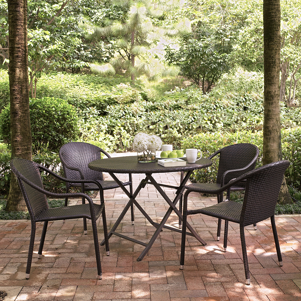 Crosley Palm Harbor 5 Piece Outdoor Dining Set w/ Stackable Chairs