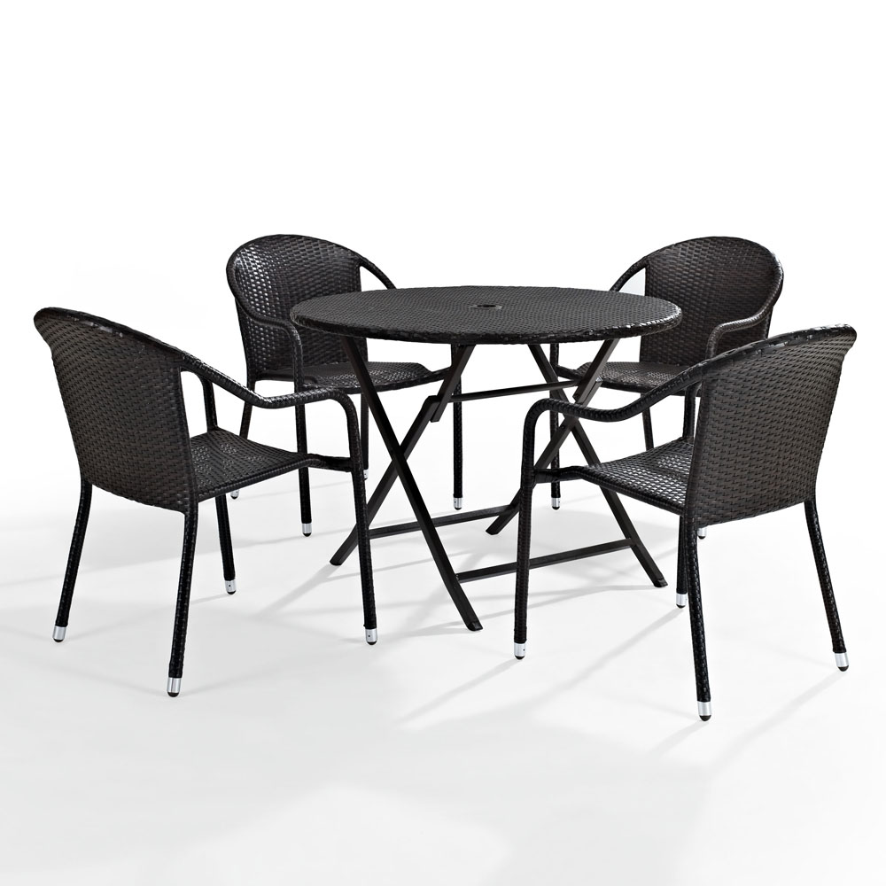 Crosley Palm Harbor 5 Piece Outdoor Dining Set W Stackable Chairs