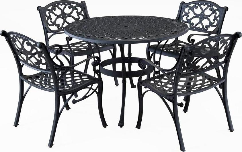 Biscayne 42 Inch Cast Aluminum Outdoor Dining Set With 4