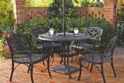 Biscayne 42 inch Cast Aluminum Outdoor Dining Set with 4 Arm Chairs