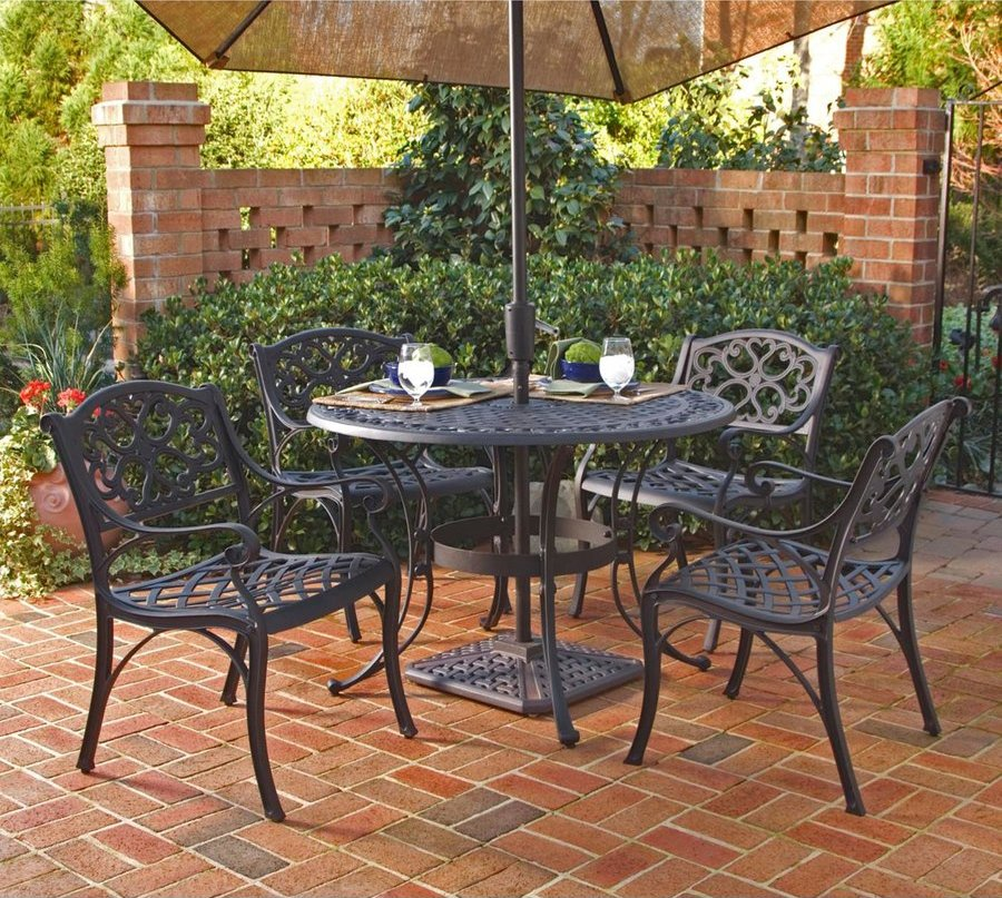 Biscayne 42 inch cast aluminum outdoor dining set with 4 for Patio dining sets with bench seating