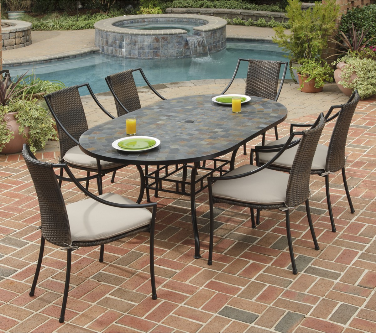 Home styles stone harbor oval outdoor dining table patio for Garden patio table