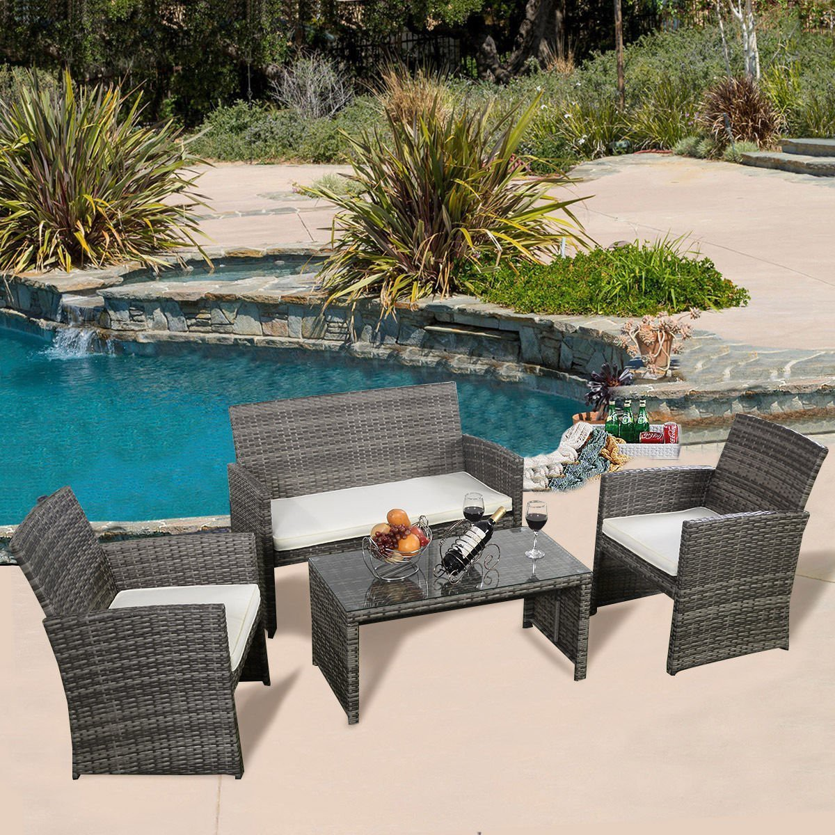Ghp 4pc gray rattan wicker outdoor patio furniture set for Outdoor furniture wicker