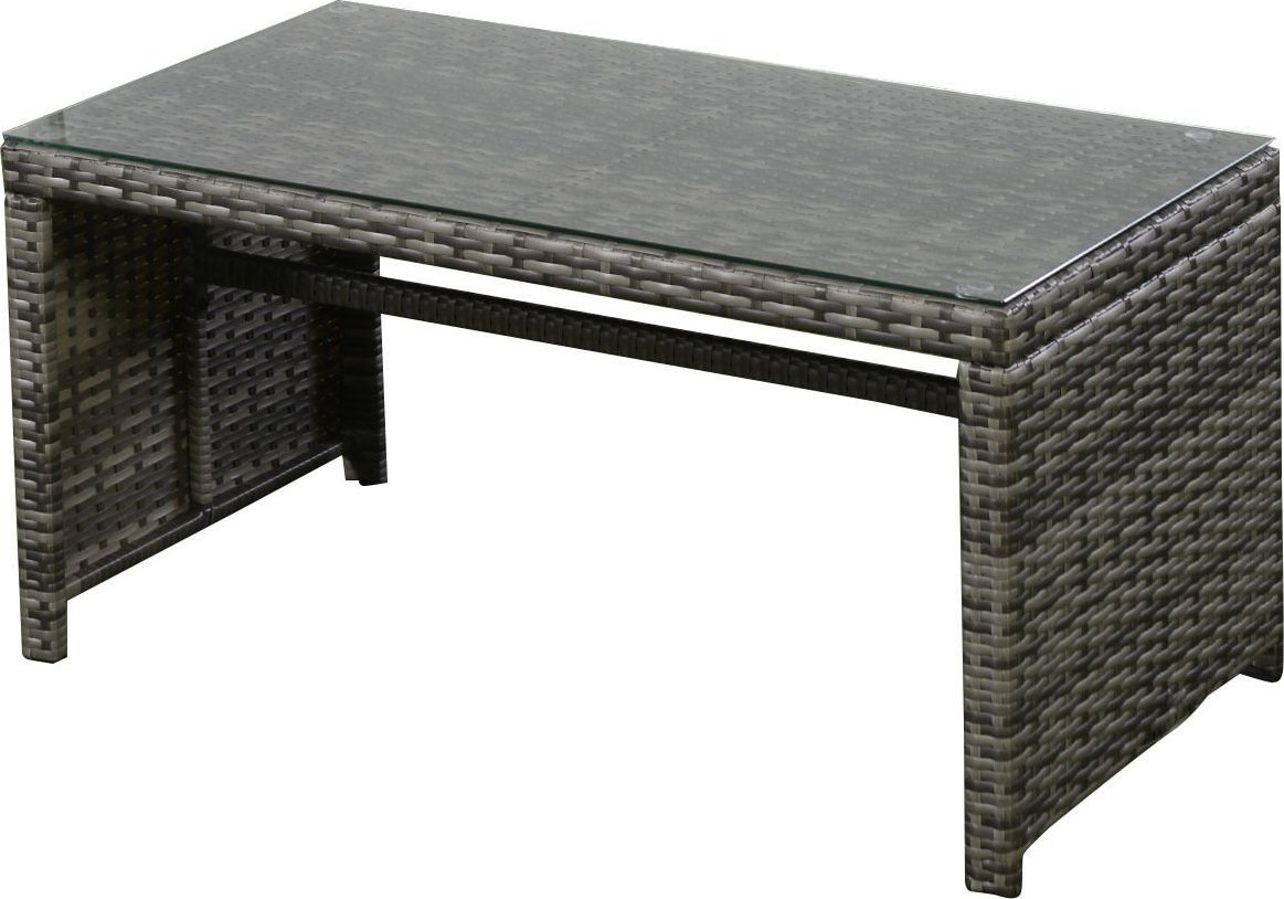 Ghp 4pc gray rattan wicker outdoor patio furniture set for Outdoor wicker patio furniture