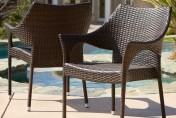 Del Mar 2 Piece Outdoor Stackable Wicker Chairs