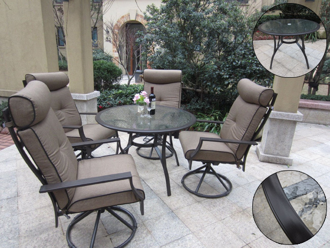 pebble lane living 5 piece outdoor dining set with cushioned swivel rocking chairs patio table. Black Bedroom Furniture Sets. Home Design Ideas
