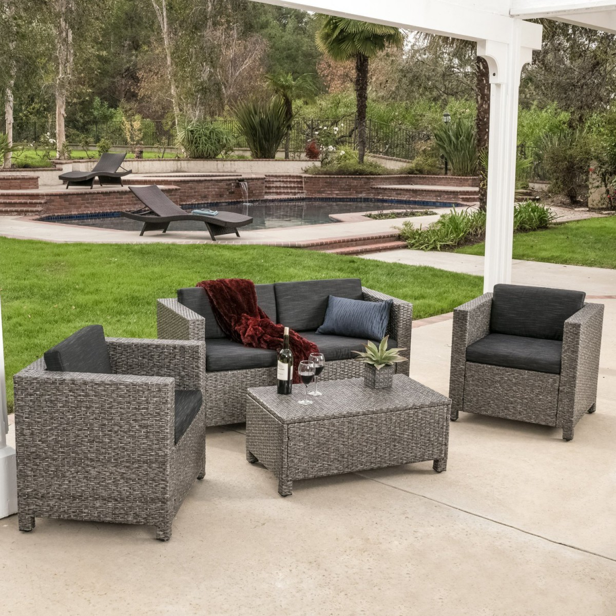 Venice 4 piece grey black wicker outdoor sectional sofa set for Outdoor furniture 4 piece