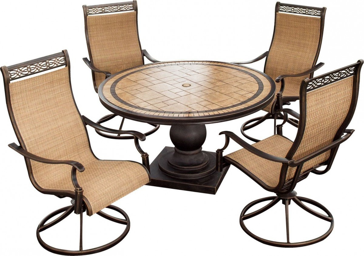 Hanover Monaco 5-Piece Outdoor Dining Set with High-Back Swivel Rocker Chairs
