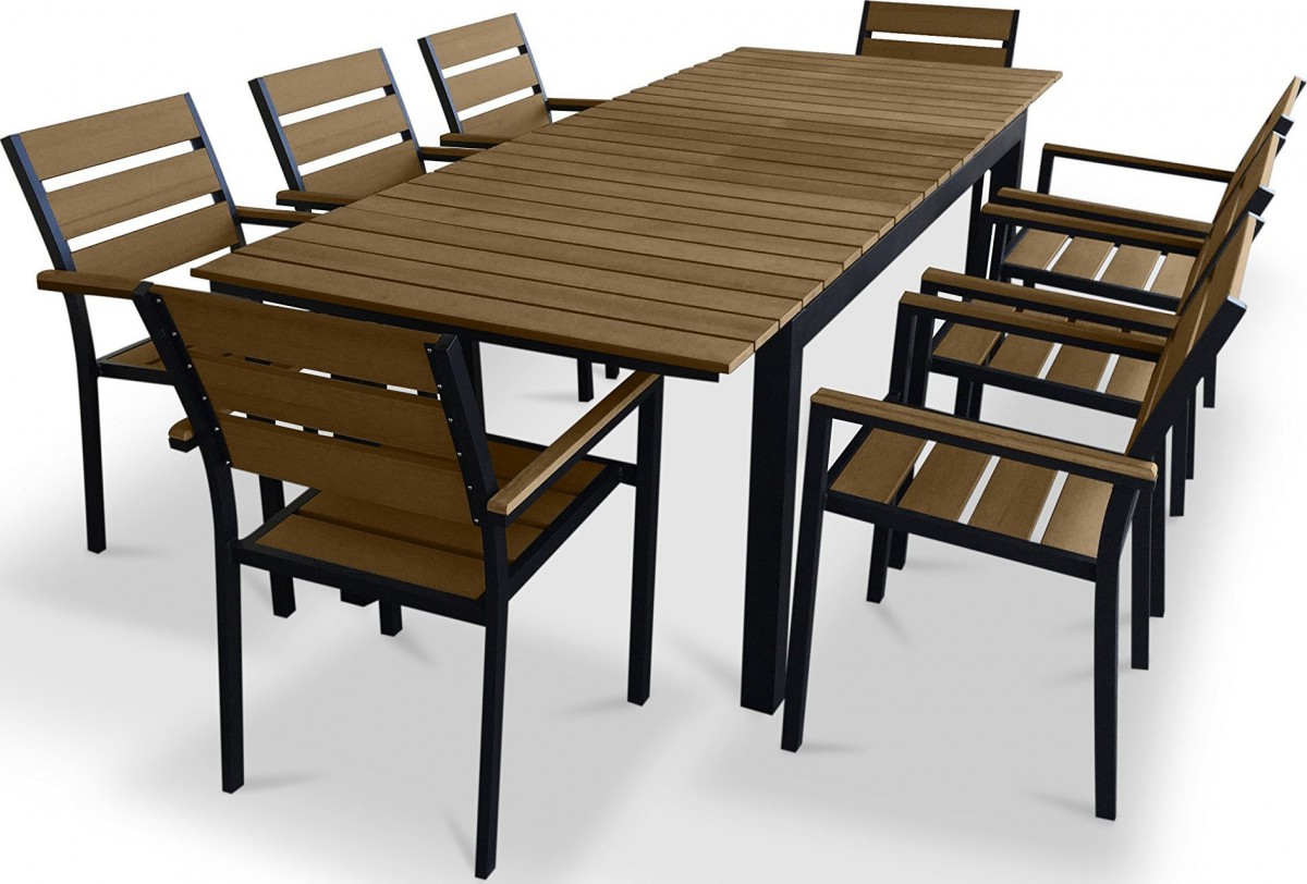 Urban furnishing 9 piece polywood outdoor patio dining set for Outdoor patio dining