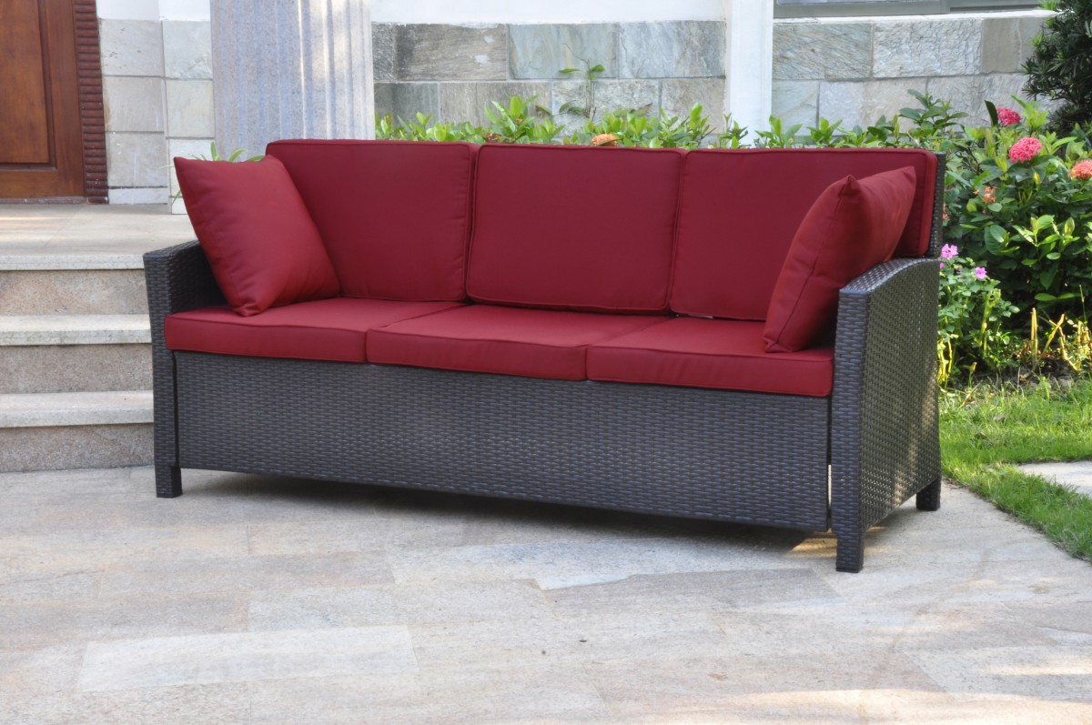 International caravan valencia 3 seat wicker outdoor sofa for Sofa outdoor