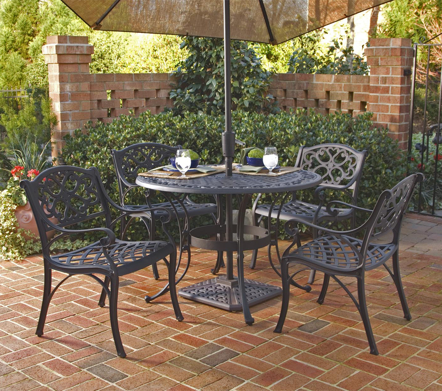 Home Styles Biscayne Round Outdoor Dining Table Black