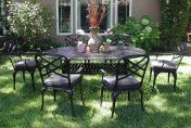 CBM Outdoor Cast Aluminum 7 Piece Patio Dining Set C with Cushions