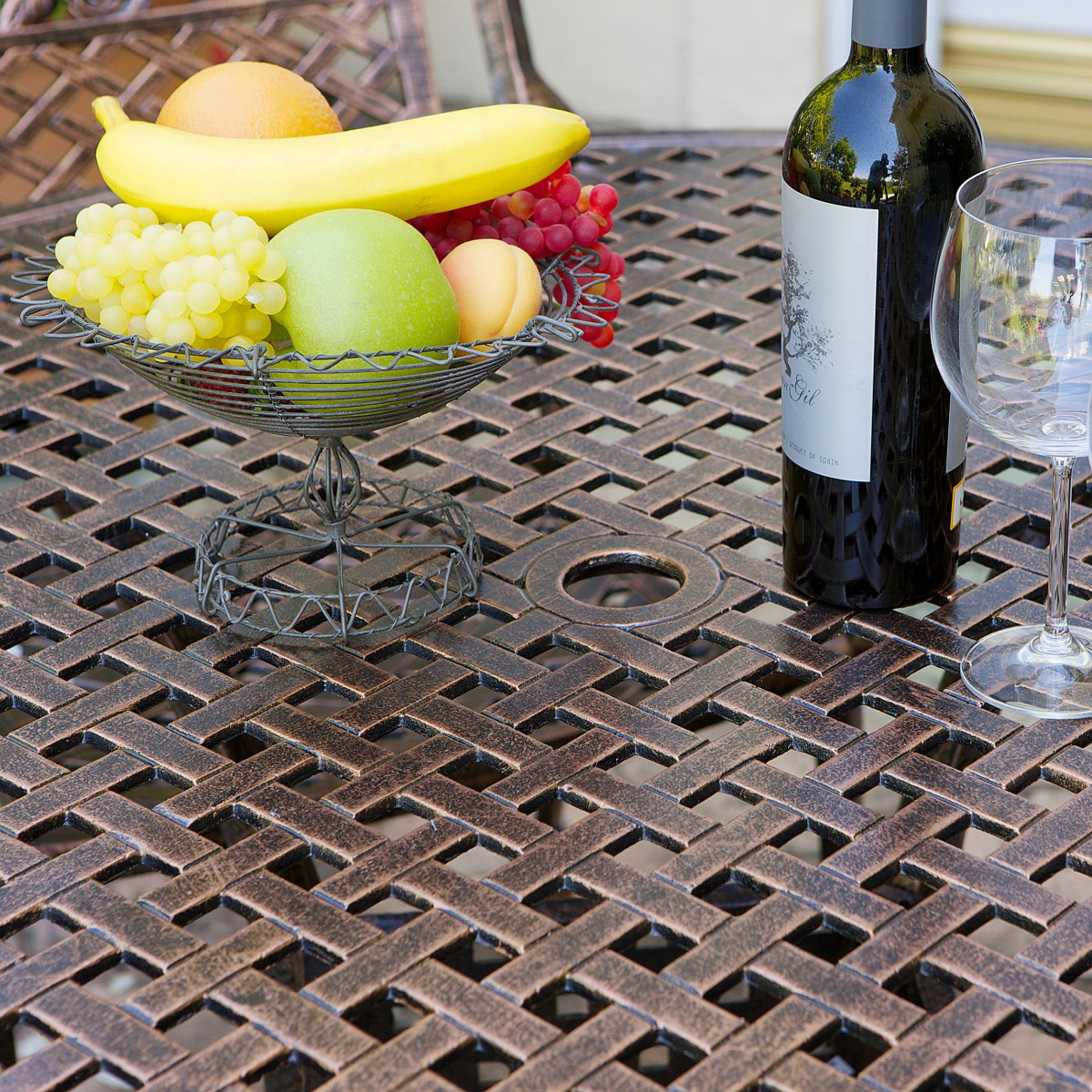 Sebastian Cast Aluminum Outdoor Dining Set In Copper