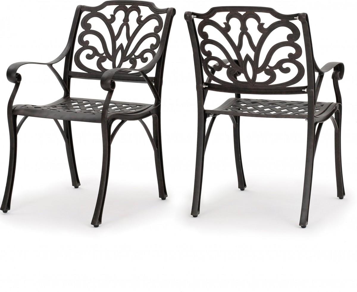 Calandra Cast Aluminum 5 Piece Outdoor Dining Set with 48″ Round Table