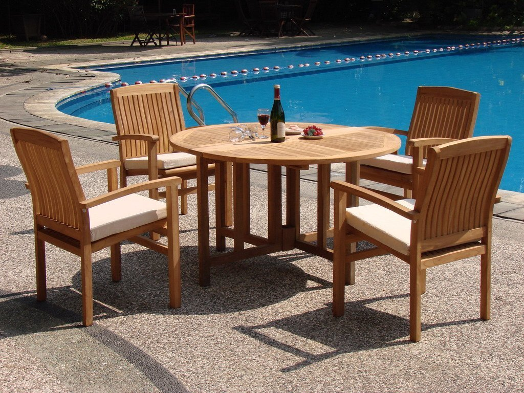 WholesaleTeak 5 Piece Grade-A Teak Dining Set with 48 ...