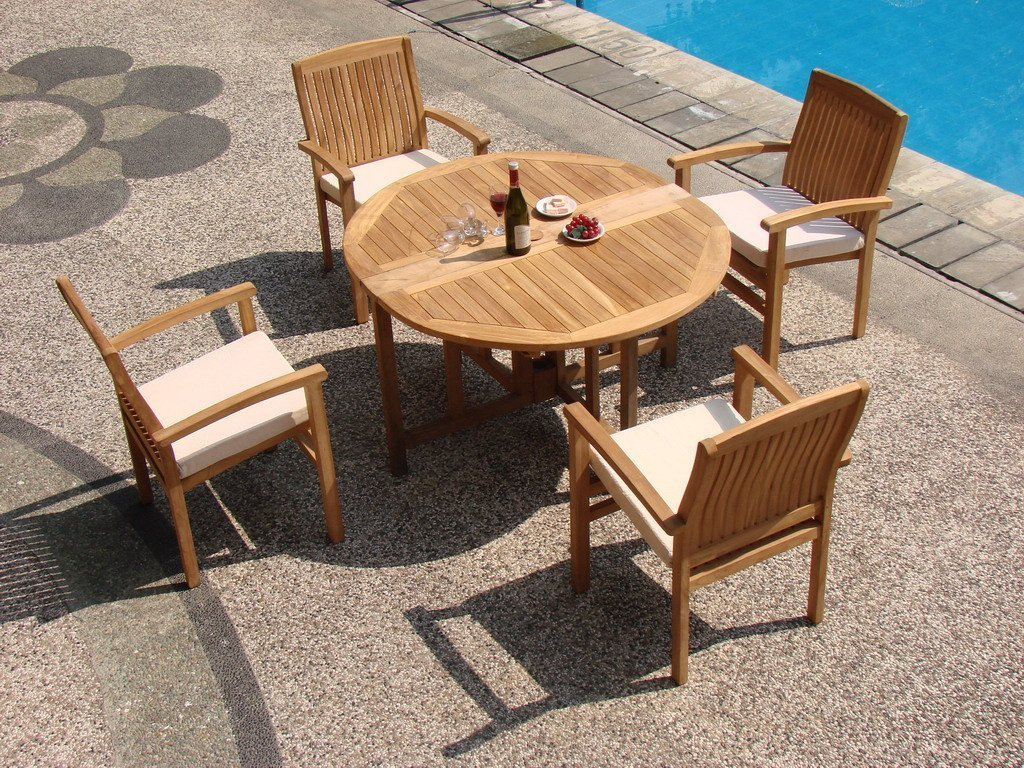 Wholesaleteak 5 piece grade a teak dining set with 48 for 4 piece dining table set