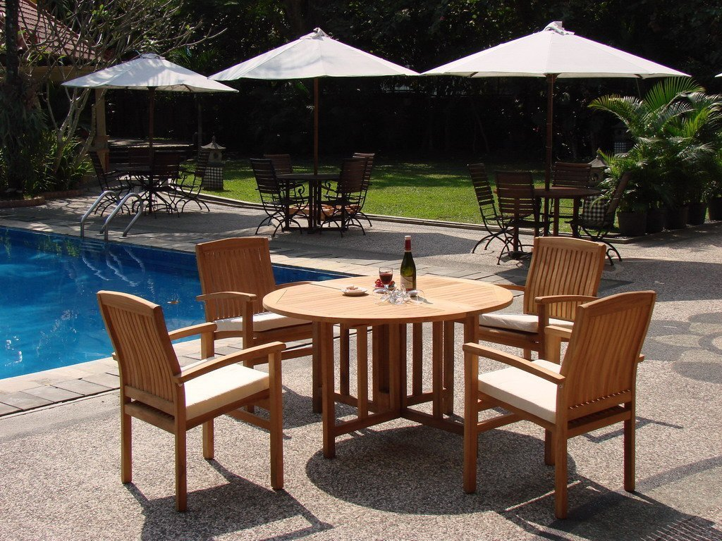WholesaleTeak 5 Piece Grade-A Teak Dining Set with 48″ Round Folding Table + 4 Stackable Chairs