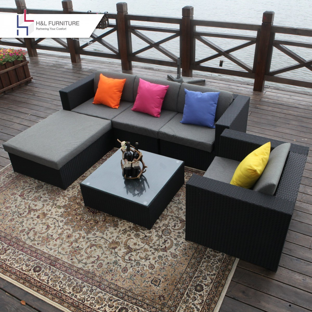 Black Wicker Coffee Table: H&L Patio Black 6 Piece Wicker Sectional Sofa Set With