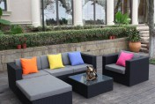 H&L Patio Black 6 Piece Wicker Sectional Sofa Set with Ottoman and Coffee Table