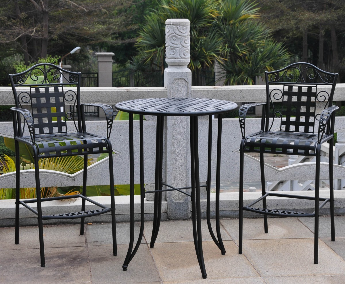 Wrought Iron Bistro Set With Bar Table And Two Barstools & Wrought Iron Bistro Set With Bar Table And Two Barstools - Patio Table