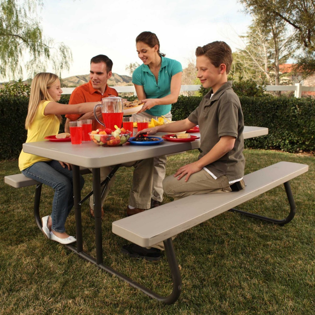 Lifetime 22119 6 Foot Folding Picnic Table Bench in Putty
