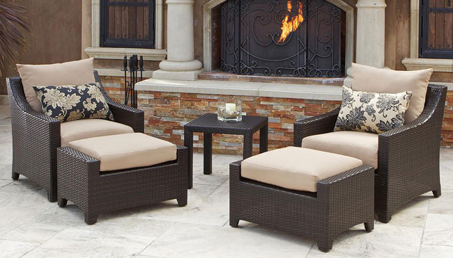 Piece outdoor chair and ottoman with side table set patio table