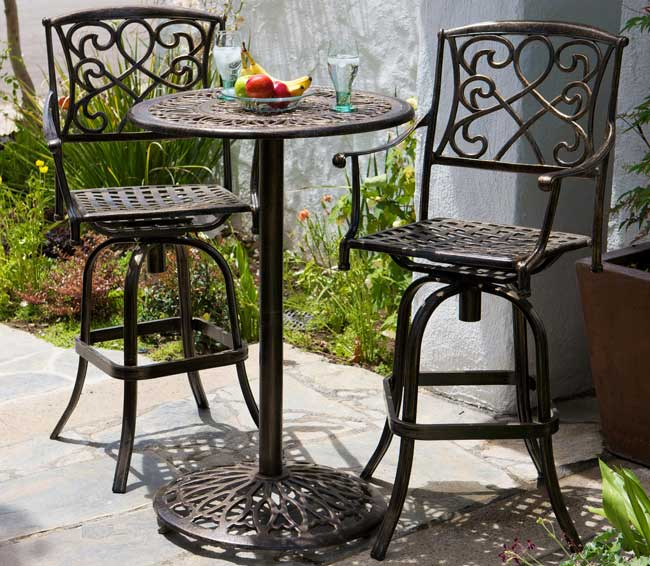Santa Maria Cast Aluminum Brown 3 Piece Bistro Bar Set