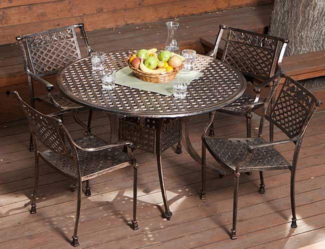 Sebastian Cast Aluminum Outdoor Dining Set In Copper | Patio Table