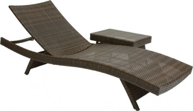 Best Selling Folding Wicker Outdoor Chaise Lounge Chairs w Table