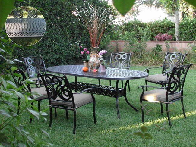 Cbm Outdoor Cast Aluminum 7 Piece Dining Set G With