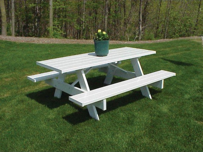 Dura Trel Traditional White Plastic Picnic Table Bench