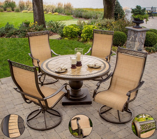 Hanover Monaco 5 Piece Outdoor Dining Set With High Back