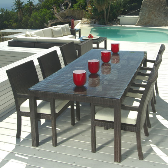 mango home outdoor wicker 7 piece patio dining set w stackable chairs